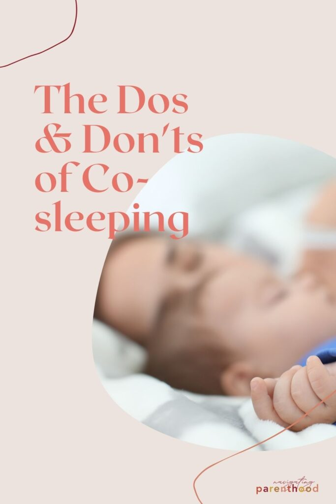 image of mom sleeping next to baby with article title