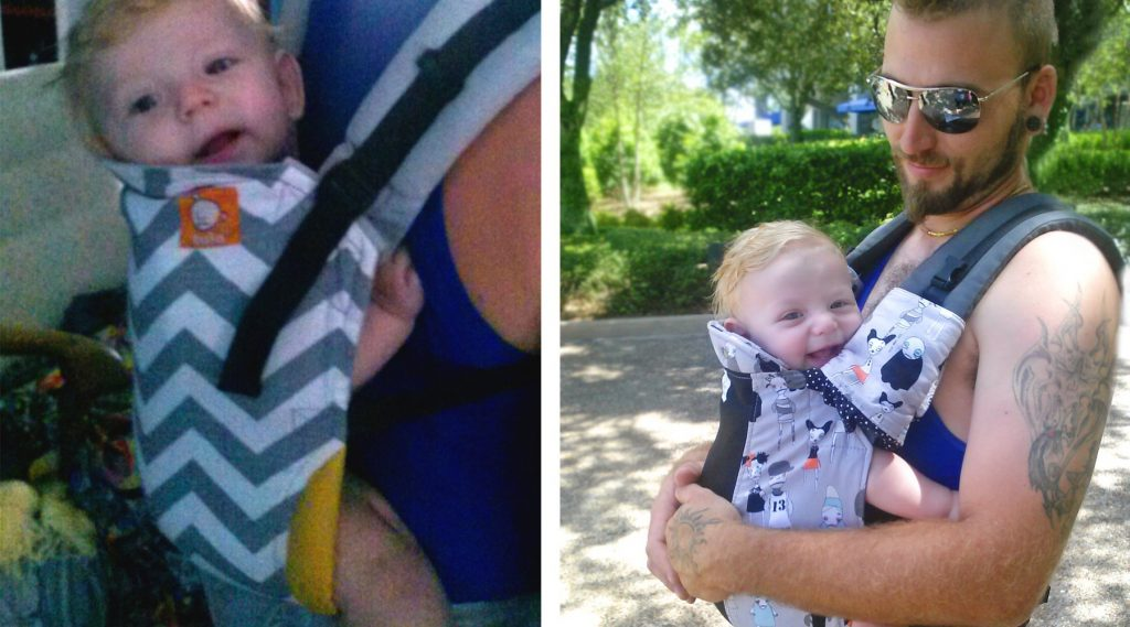 two photos of a dad babywearing his daughter