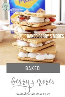 Simple Red, White and Blue Baked Berry S\'mores