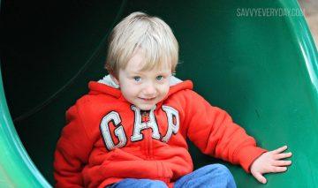 Little boy on a slide