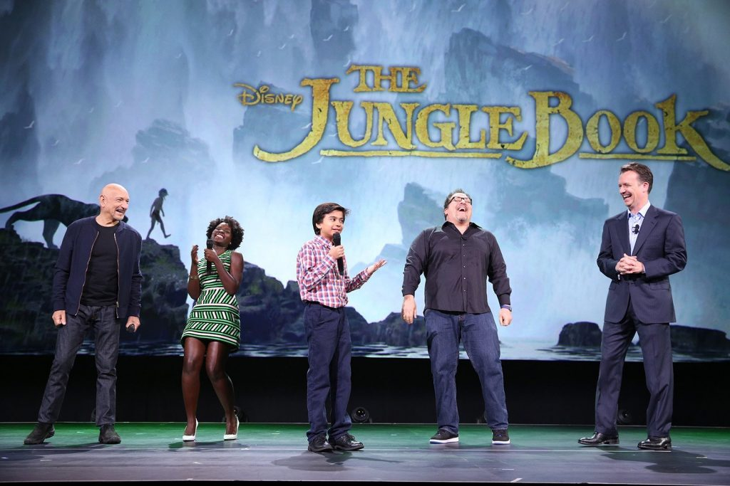 """(L-R) Actors Ben Kingsley, Lupita Nyong'o, Neel Sethi and director Jon Favreau of The Jungle Book and President of Walt Disney Studios Motion Picture Production Sean Bailey took part today in """"Worlds, Galaxies, and Universes: Live Action at The Walt Disney Studios"""" presentation at Disney's D23 EXPO 2015 in Anaheim, CA. Photo by Jesse Grant/Getty Images for Disney"""