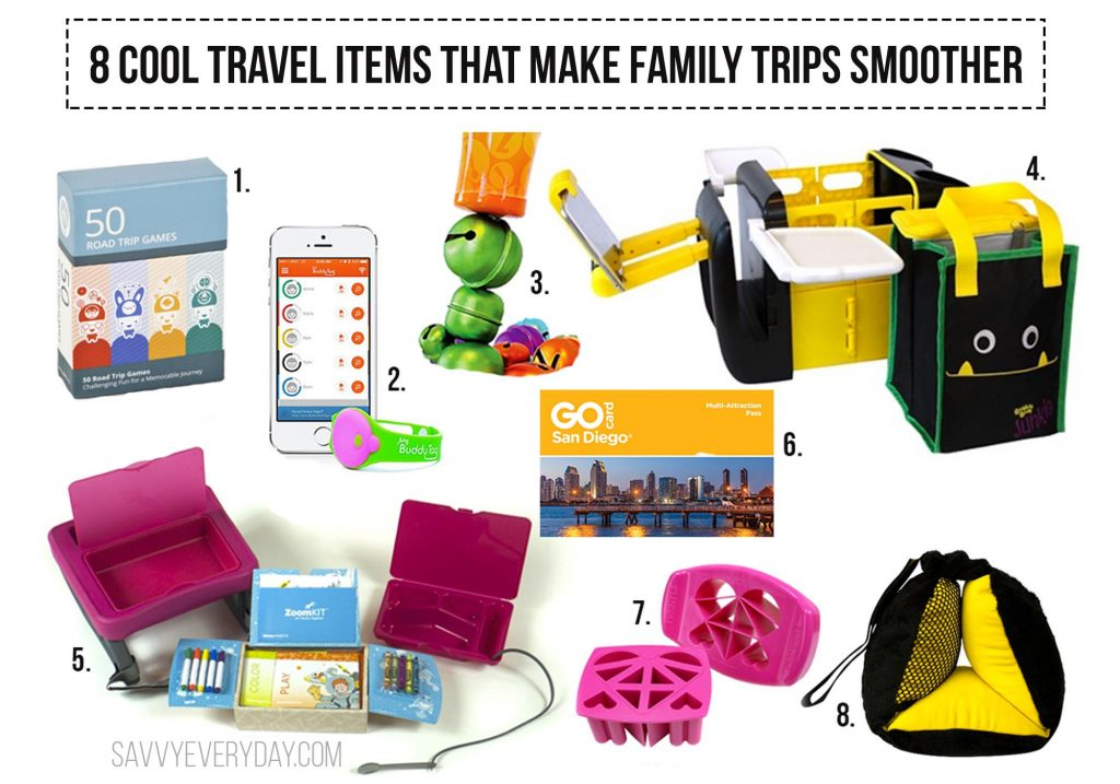 Collage of travel products and article headline.