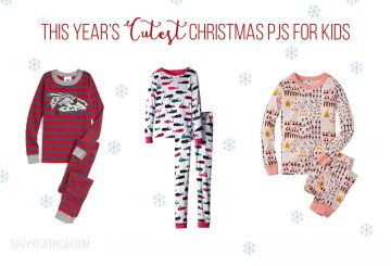 Collage of three kids Christmas PJs
