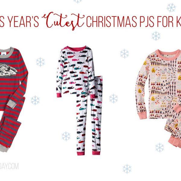 Collage of three kids Christmas PJs
