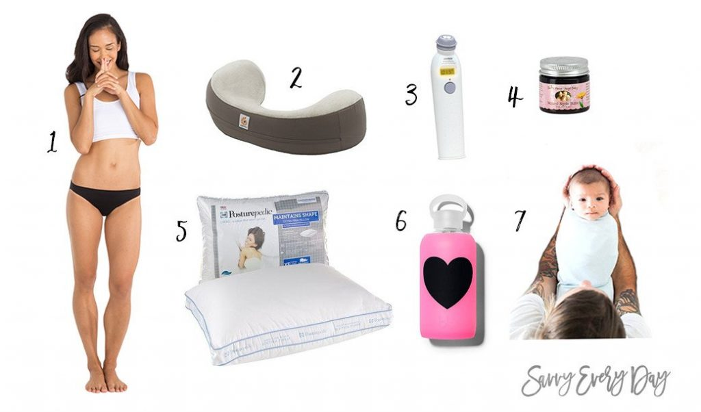 Collage of items for new moms