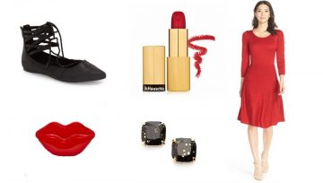 collage of cute items for a date night look