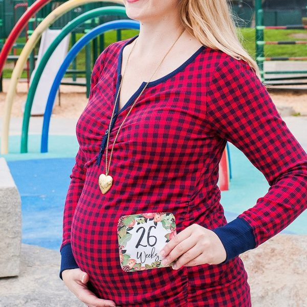 26 week baby bump in red plaid shirt at a park playground