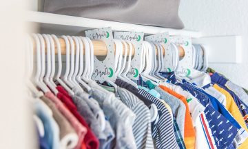baby clothes in closet