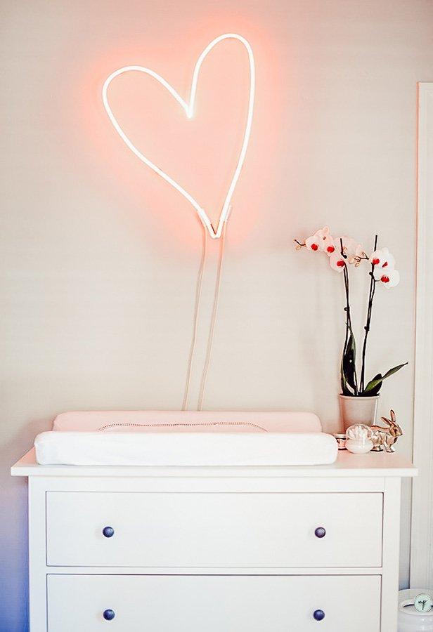 Custom heart-shaped LED light in Wonderland nursery room
