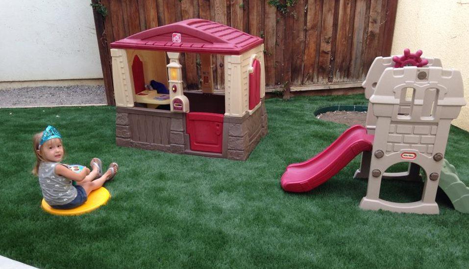 playing in the backyard