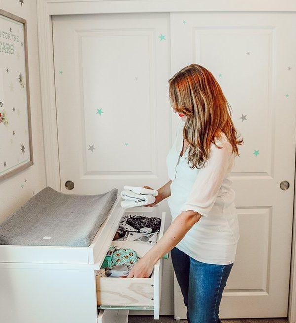 putting cloth diapers in the dresser