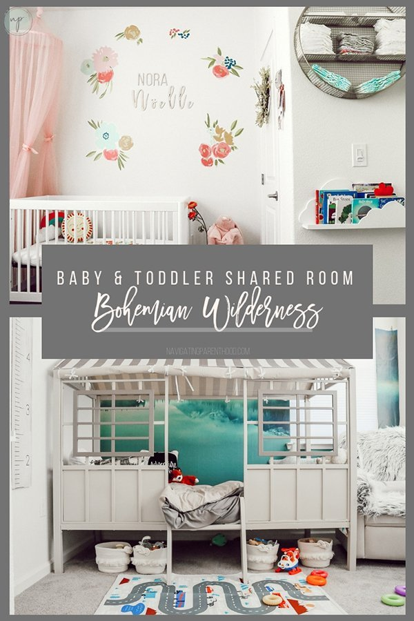 Baby and Toddler Bohemian Wildnerness Shared Room Design