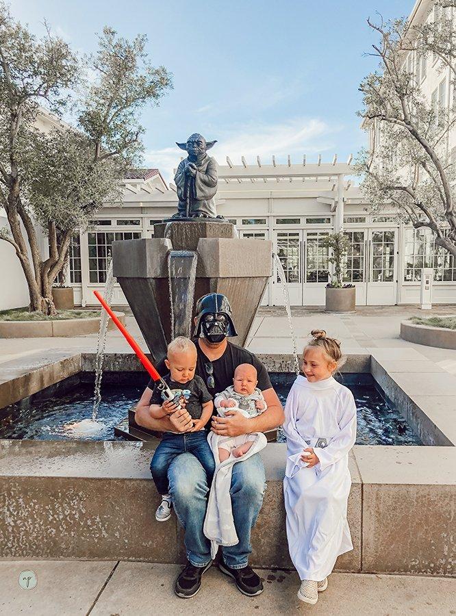 family photo at yoda fountain in the presidio