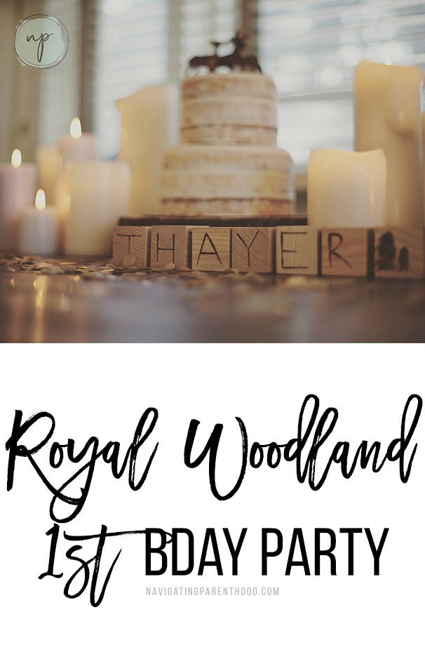 "Image of cake and wooden blocks that say 'Thayer"" with blog post title written underneath for Pinterest"