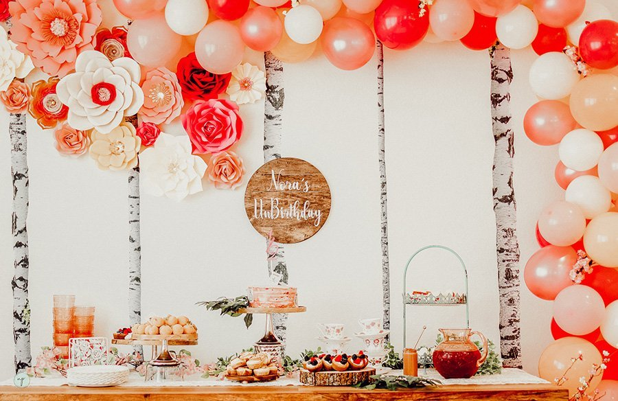 Wonderland half birthday dessert table