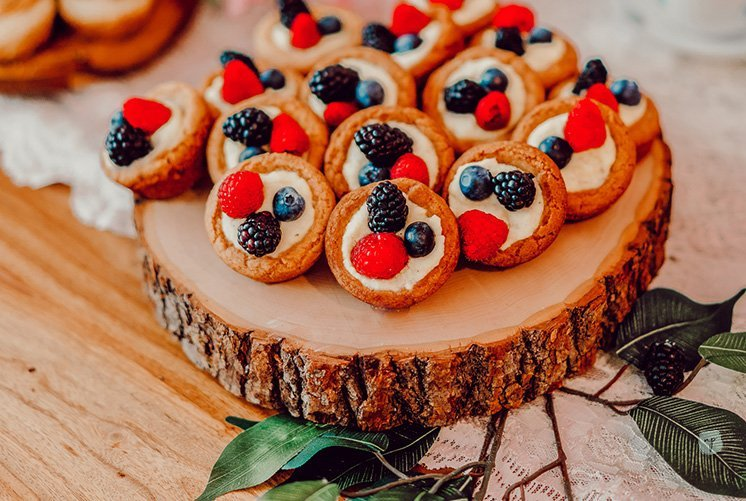 delicious fruit custards on wooden tray