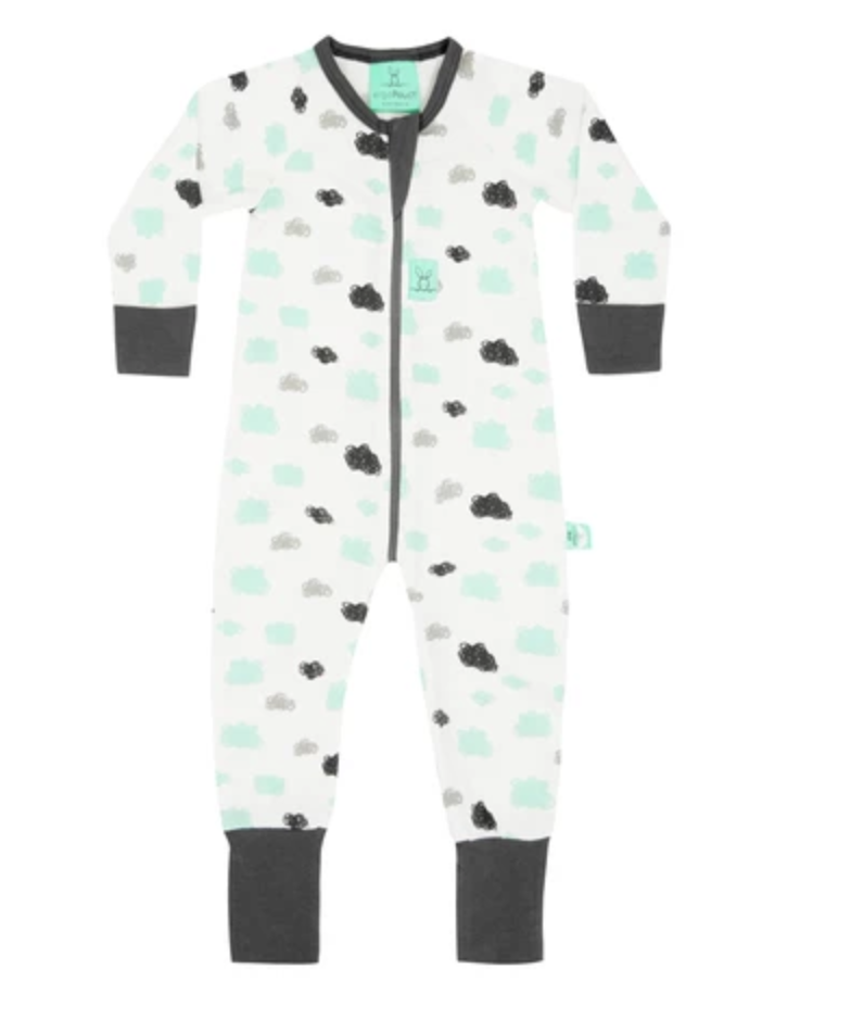 White and grey pajamas with mint/teal and grey clouds on it