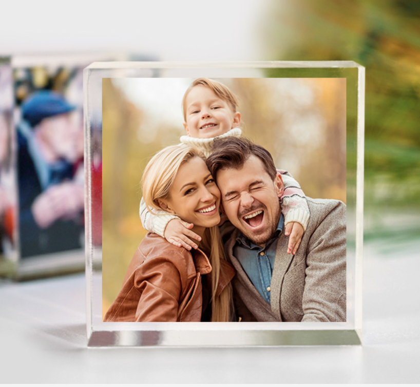 Image of acrylic photo block with family smiling and hugging