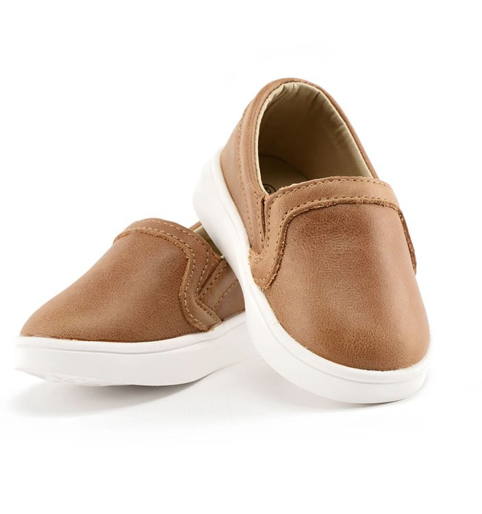Brown leather kids slip on shoes