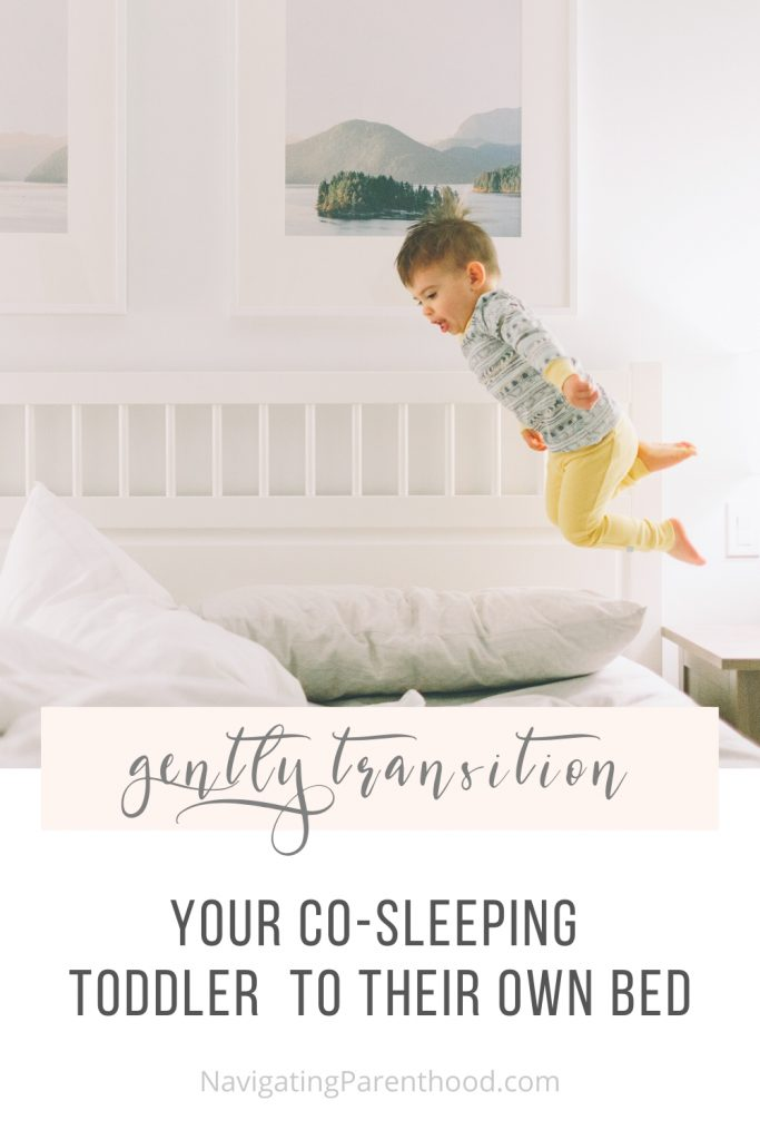 A Pinterest image of a boy jumping on a bed with the post title over it