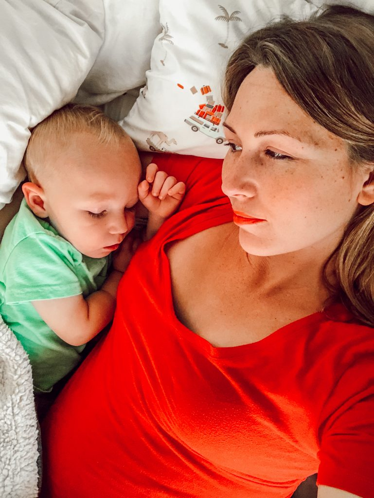 co-sleeping toddler and mom