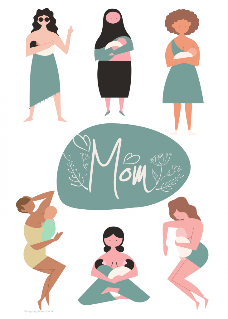 """a collage of moms with babies and the word """"mom"""" in center on a green dot"""
