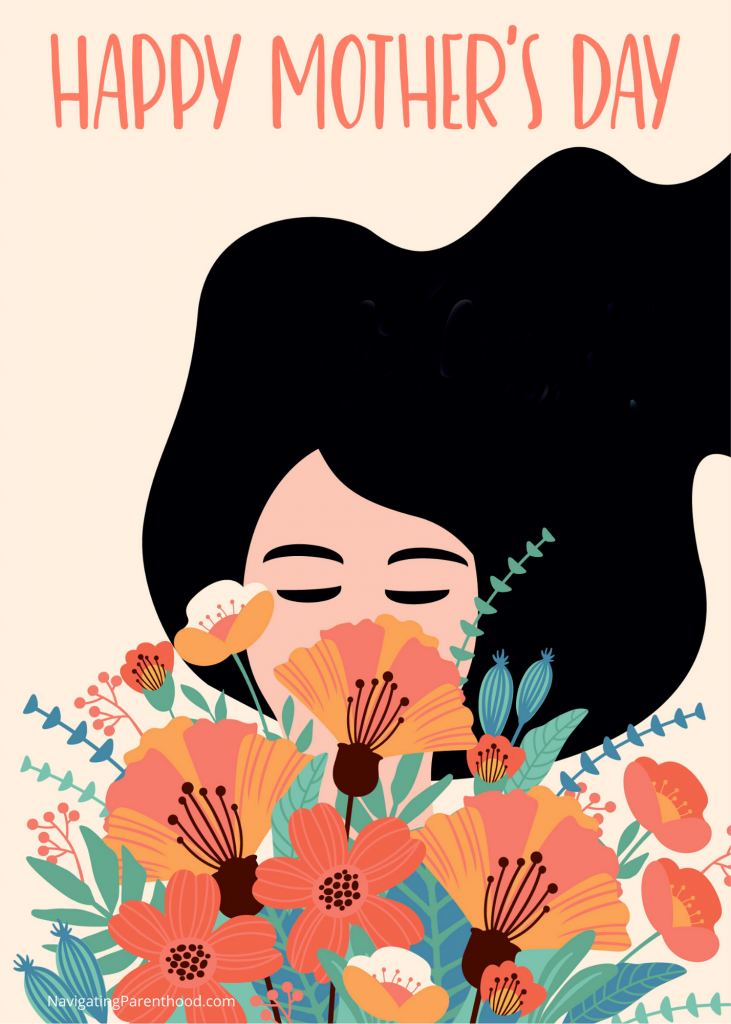 Illustration of white woman with black hair and closed eyes smelling a bouquet of orange and red flowers