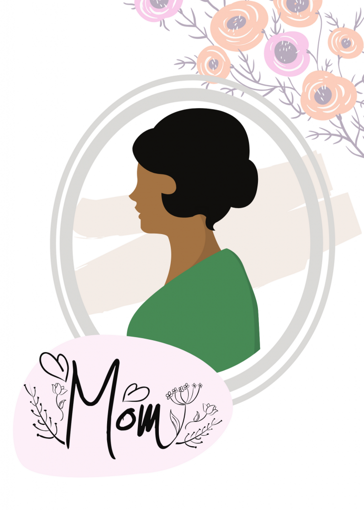 """illustrated silhouette of a mom in a green shirt with the words """"Mom"""" on a decorative dot over it"""