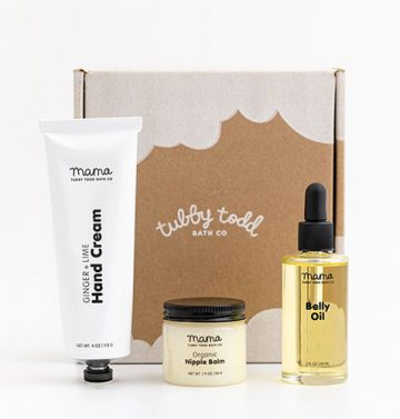 Tubby Todd Dear Mama Gift Set in front of box
