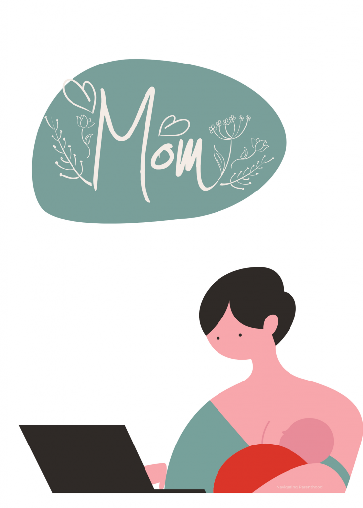 illustration of mom working at computer while nursing her baby