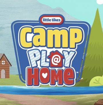 camp play at home sign with illustrated forest trees and cabin in the background