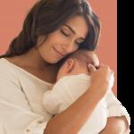 happy postpartum mom and baby