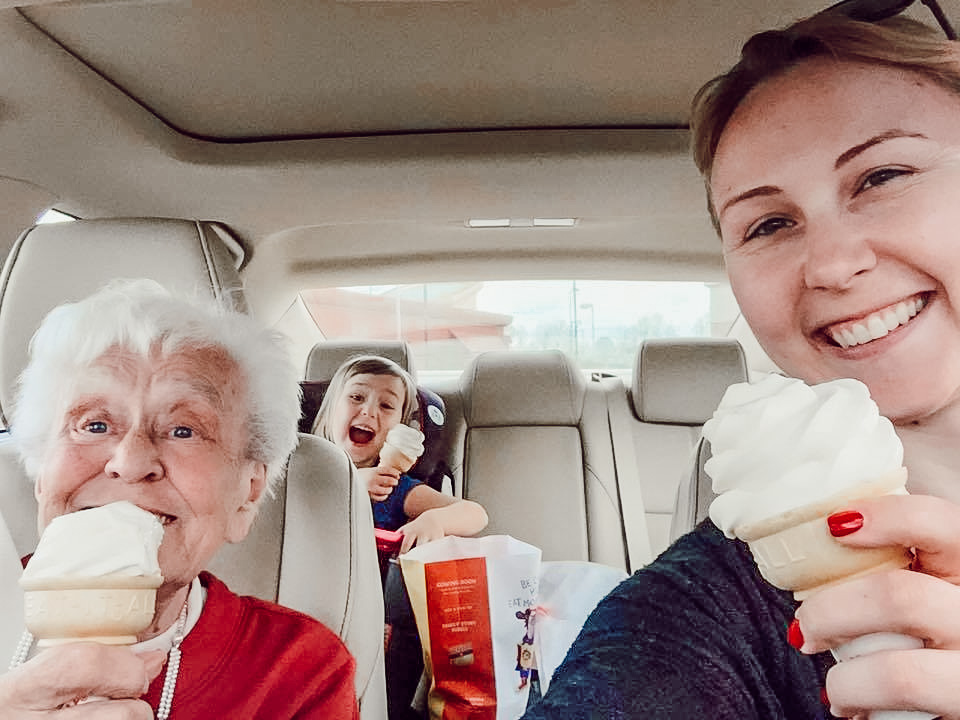 grandma and granddaughter with ice cream cones