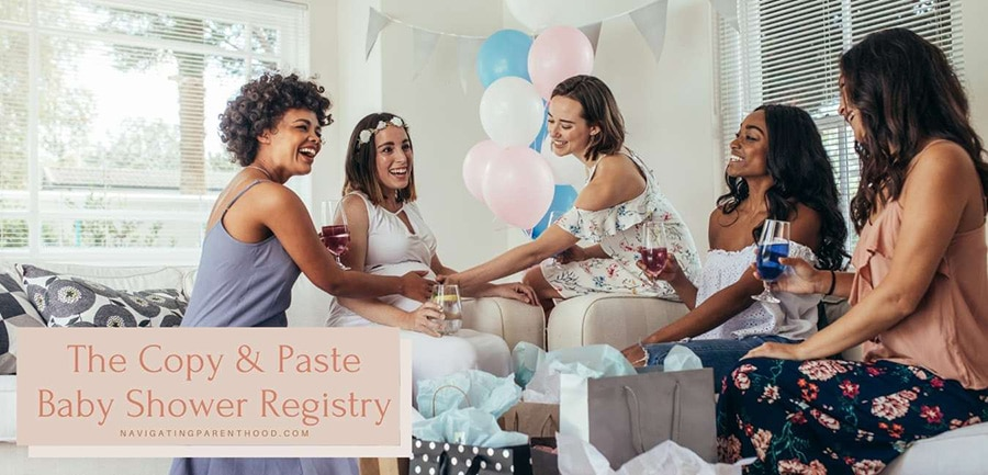 """women enjoying drinks and laughing at a baby shower with """"The Copy & Paste Baby Registry"""" title over top the image."""